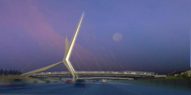 I-40 /  SKYDANCE  BRIDGE: RENDERING BY HANS BUTZER AND STAN CARROLL 