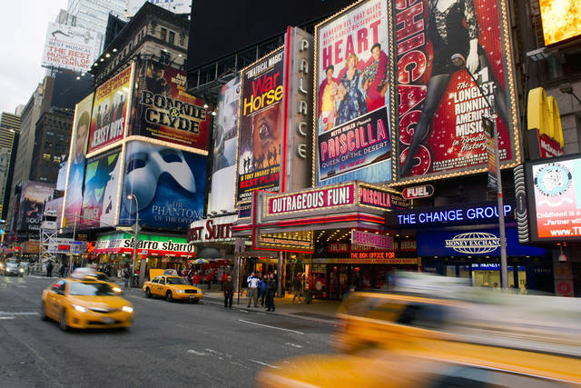 Billboards advertising Broadway shows Jan. 19 in New York�s Times Square are shown.  AP Archives Photo