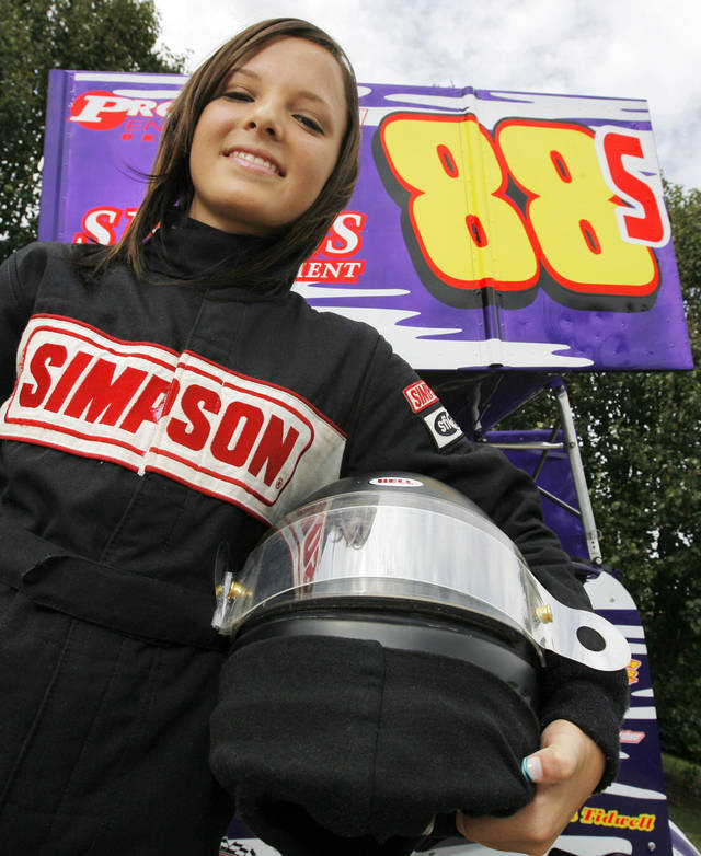 SPRINT CAR RACING, TEEN, TEENAGER, GIRL: 15-year-old sprint car racer Shayla Waddell poses for a photo with her car in Oklahoma City, Tuesday, June 24, 2008. BY NATE BILLINGS, THE OKLAHOMAN ORG XMIT: KOD