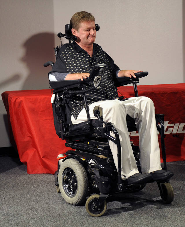 Sam Schmidt, for whom Dan Wheldon was driving when he was fatally injured in a crash during the IndyCar Series' Las Vegas Indy 300 auto race on Sunday, talks to reporters during a news conference in Las Vegas, Monday, Oct. 17, 2011. (AP Photo/Chris Carlson)