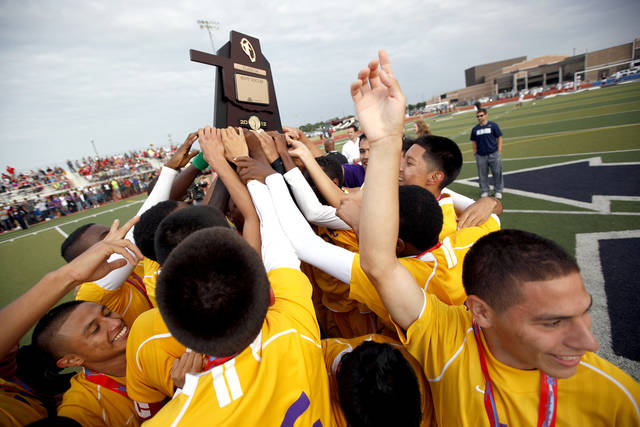 Northwest Classen celebrates their win in the boys 5A soccer state championship game over Cascia Hall at Edmond North High School in Edmond, Okla., Saturday, May 12, 2012. Photo by Sarah Phipps, The Oklahoman