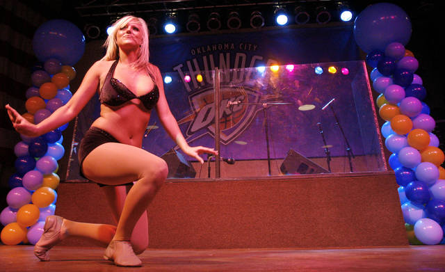 Johnna dances during auditions for the OKC Thunder dance team, at Toby Keith's I Love this Bar and Grill, in Oklahoma City, Thursday, Sept. 11, 2008 BY MATT STRASEN, THE OKLAHOMAN.