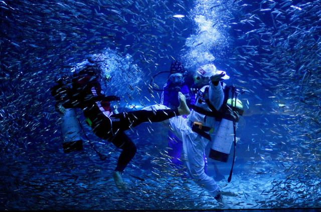 In celebration of the upcoming London Olympics, underwater taekwondo is performed by divers at the COEX Aquarium in Seoul, South Korea, Tuesday, July 24, 2012. (AP Photo/Hye Soo Nah)