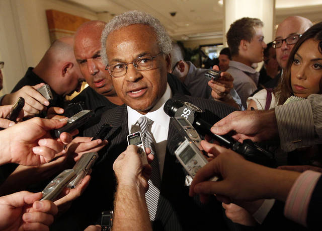 FILE - In this June 30, 2011, file photo, Union chief Billy Hunter speaks to reporters after a meeting with the NBA in New York. A review of the NBA's players' association found that executive director Hunter did nothing illegal with union funds, but enough wrong that players should consider whether he should remain in his position. (AP Photo/Mary Altaffer, File)