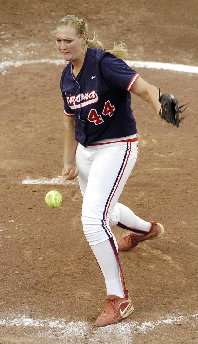University of Arizona pitcher Alicia Hollowell releases a pitch in the second inning during the Arizona vs Northwestern college softball game in the first game of the championship round of the NCAA Women's College World Series at ASA Hall of Fame Stadium in Oklahoma City, June 5, 2006. By Matt Strasen, The Oklahoman