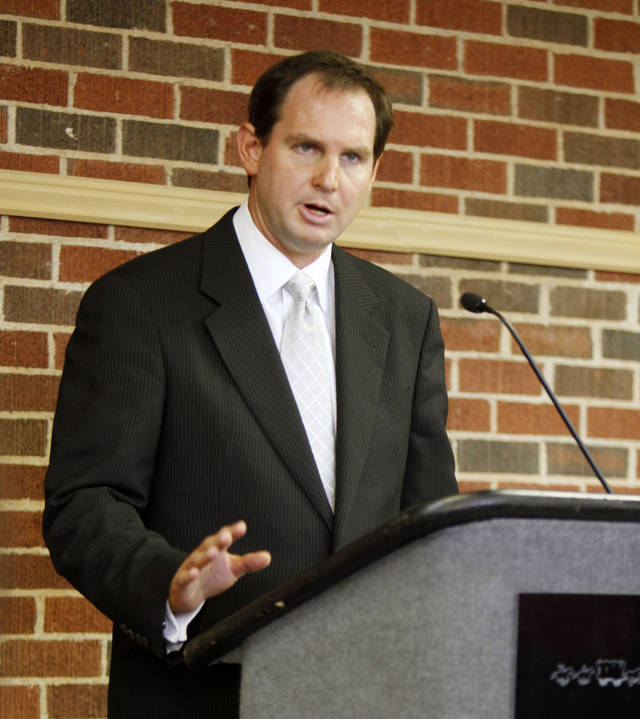 Former Oklahoma State University Head Basketball Coach Sean Sutton speaks to the press about his addiction and recovery from prescription pain killers, during a press conference in Stillwater, OK, Friday, Aug. 13, 2010. By Paul Hellstern, The Oklahoman