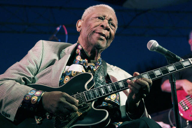 FILE - In this Aug. 22, 2012 file photograph, an 86-year-old B.B. King performs at the 32nd annual B.B. King Homecoming, a concert on the grounds of an old cotton gin where he worked as a teenager many years ago, in Indianola, Miss. Elvis Costello, B.B. King and Ray Davies are among the nominees for the 2013 Songwriters Hall of Fame. Songwriters Hall gave The Associated Press a list of nominees in advance, but won�t officially announce them until Oct. 16. The gala takes place June 13, 2013 in New York. (AP Photo/Rogelio V. Solis)