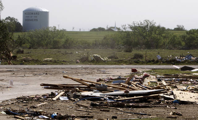 The Woodward water tower is seen in Woodward, Okla., Sunday, April 15, 2012. A tornado that killed five people struck Woodward, Okla., shortly after midnight on Sunday, April15, 2012.  Photo by Bryan Terry, The Oklahoman