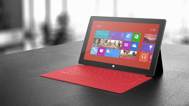 The new tablet from Microsoft, the Surface With Windows RT, offers optional keyboards in various colors.  PHOTO PROVIDED.   <strong></strong>