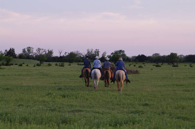 Guests at Island Guest Ranch near Ames in northwest Oklahoma ride horses. Photo provided  <strong></strong>