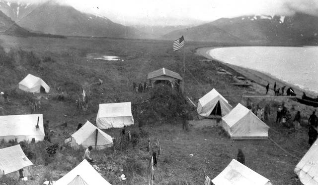A refugee camp established by Captain Perry of the U.S. Revenue Service cutter Manning is shown on June 9, 1912, after the Novarupta-Katmai volcano eruption in Alaska.  AP Photo/U.S. Geological Survey