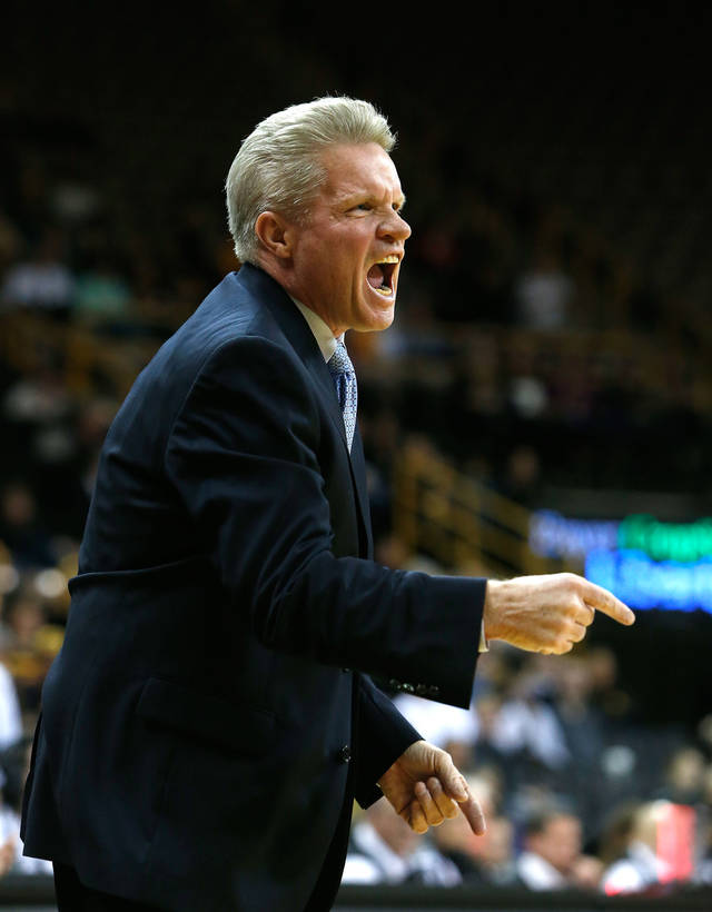 Iowa State head coach Bill Fennelly yells at this team during the first half an NCAA college basketball game against the Iowa Thursday, Dec. 6, 2012 at Carver-Hawkeye Arena in Iowa City, Iowa.  (AP Photo/The Gazette,Brian Ray)