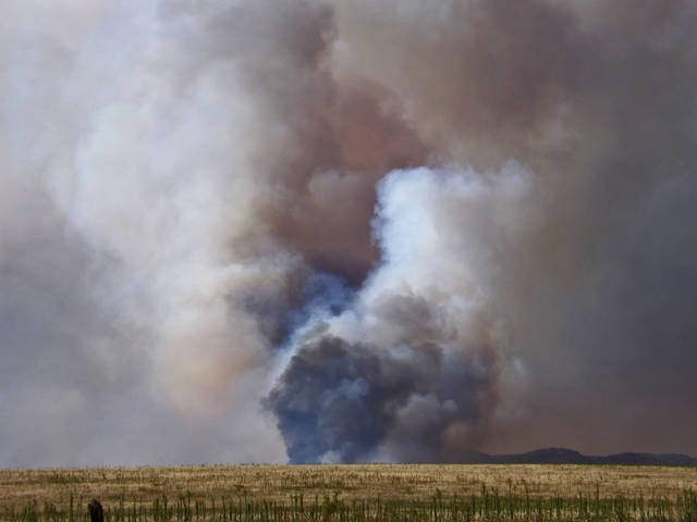 Wildfire scorches over 12,000 acres north of Indiahoma, July 25, 2012