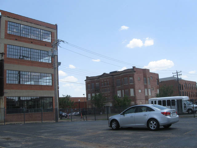 A 300-space garage is proposed for this parking lot west of the building at 1101 N Broadway and across the street from the Hotel Marion. Photo by Steve Lackmeyer, The Oklahoman
