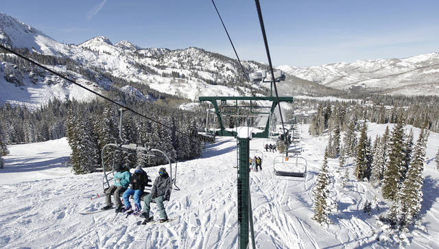   This Nov. 13, 2012 photo shows skiers riding a chair lift line at Brighton Ski Resort in the Wasatch Range, in Utah. The Brighton Ski Resort is in middle of the Wasatch Range&#039;s 7 resorts. If the resorts were to be combined, the Utah resorts could offer North America&#039;s largest skiing complex _ three times the size of Vail and twice as big as Whistler Blackcomb in British Columbia. (AP Photo/Rick Bowmer)  