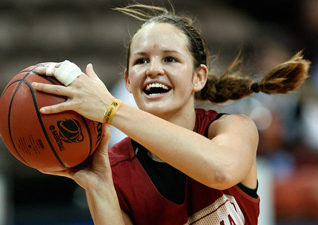Oklahoma's Whitney Hand shoots during practice before the first round of the 2009 NCAA Tournament at Carver-Hawkeye Arena in Iowa City, Iowa. PHOTO BY STEVE SISNEY, The Oklahoman Archives