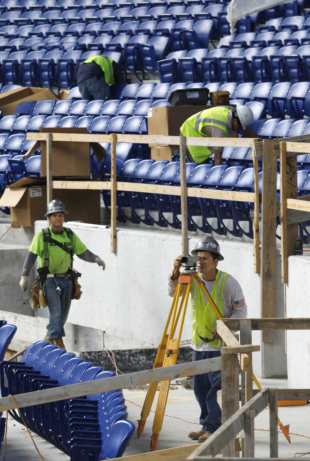 Construction continues on the Marlins' new ballpark in Miami. AP photo