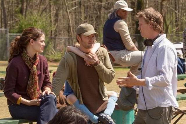 "Writer-director Peter Hedges, right, directs Jennifer Garner and Joel Edgerton on the set of ""The Odd Life of Timothy Green."""