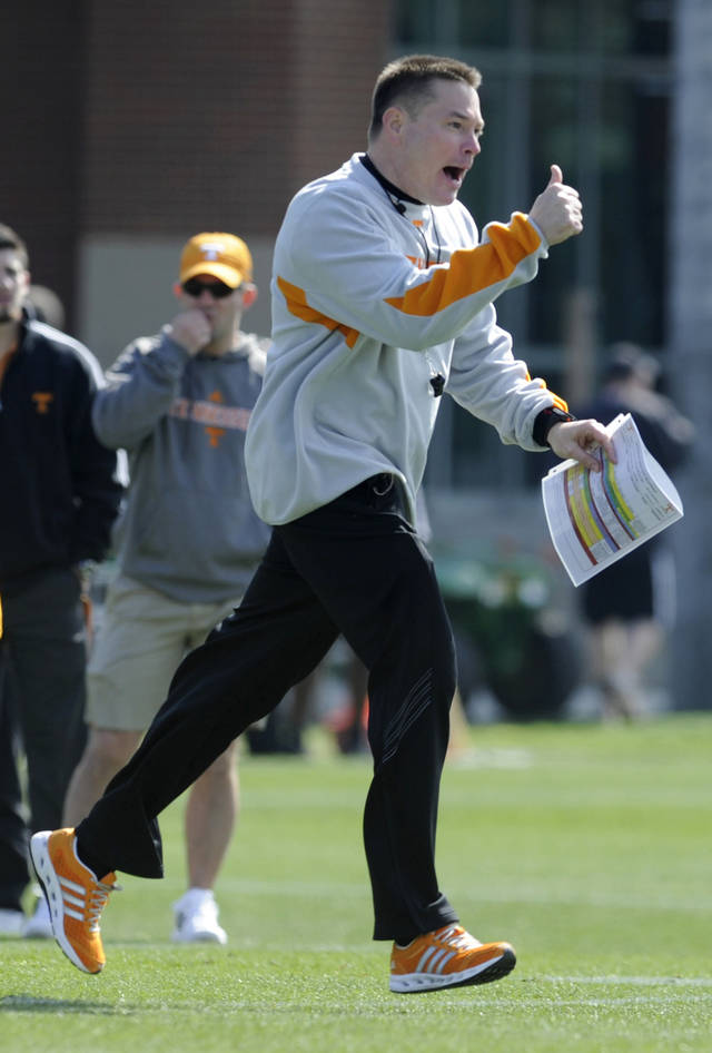 Tennessee head football coach Butch Jones conducts his first spring NCAA college practice at Haslam Field on Saturday, March 9, 2013 in Knoxville, Tenn.  (AP Photo/The Knoxville News Sentinel, Amy Smotherman Burgess)