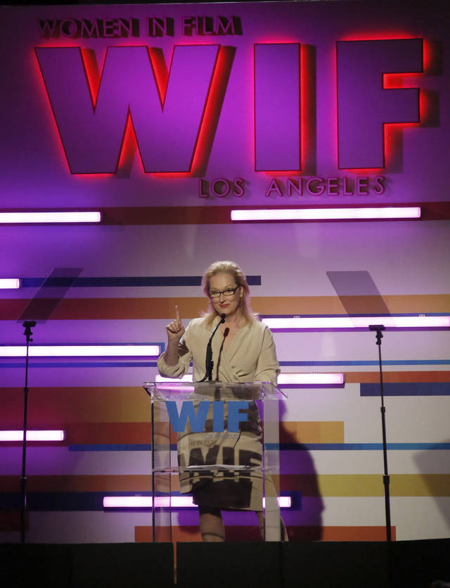 This Tuesday, June 12, 2012 photo shows actress Meryl Streep onstage at the Women In Film Crystal + Lucy Awards at the Beverly Hilton Hotel in Beverly Hills, Calif. (Photo by Todd Williamson/Invision/AP)