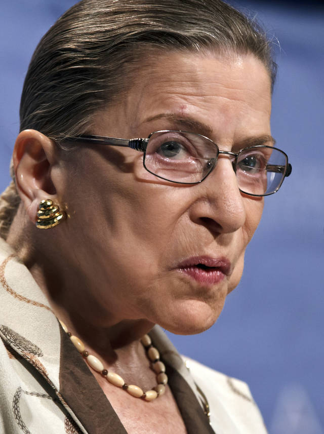 Supreme Court Justice Ruth Bader Ginsburg discusses highlights of the court's current term and the impending decision in the Affordable Care Act litigation as she addresses the American Constitution Society for Law and Policy convention in Washington, Friday, June 15, 2012. Ginsburg says those who are guessing publicly what the court will say on the constitutionality of President Barack Obama's health care law don''t know, because those who know aren't saying. (AP Photo/J. Scott Applewhite)