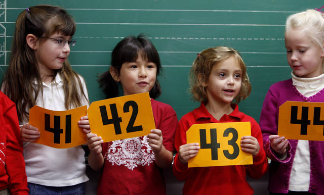 Kindergarten students Heather Herzer, Jocelyn Byerly, Kelsey Schallhorn and Autumn Post participate in a number exercise at Community Christian School in Norman, Okla. on Wednesday, Nov. 21, 2007.   BY STEVE SISNEY, THE OKLAHOMAN