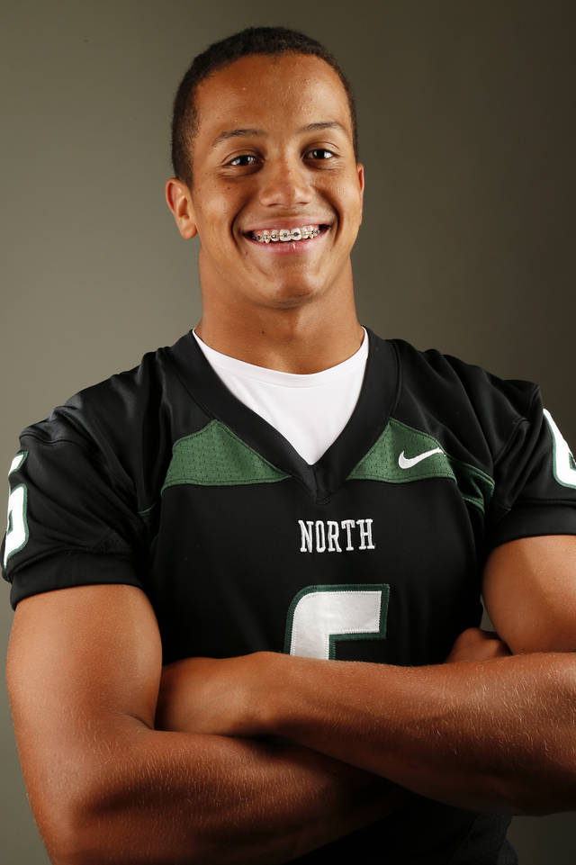 HIGH SCHOOL FOOTBALL / MUG: Norman North football player Jordan Evans poses for a photo during The Oklahoman's Fall High School Sports Photo Day in Oklahoma City, Wednesday, Aug. 15, 2012. Photo by Nate Billings, The Oklahoman