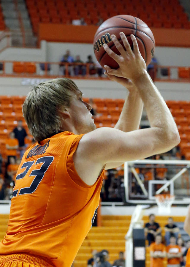 Oklahoma State's Alex Budke shoots during the college basketball game between Oklahoma State University and Ottawa (Kan.) at Gallagher-Iba Arena in Stillwater, Okla., Thursday, Nov. 1, 2012. Photo by Sarah Phipps, The Oklahoman
