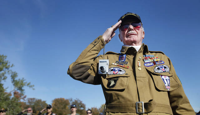 Army veteran Carter L. Glass salutes the flag during the 45th Infantry Museum's Veteran's Day ceremony in Oklahoma City , Friday November, 11,  2011. Photo by Steve Gooch