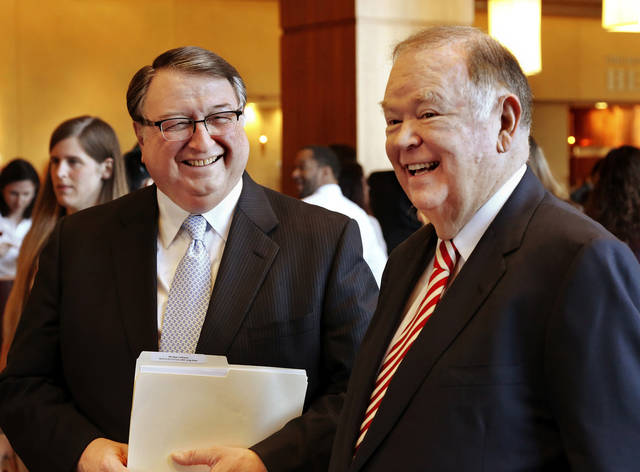 Dr. M. Dewayne Andrews, left, and David Boren at the news conference. Andrews is provost of the OU Health Sciences Center and is executive dean of the OU College of Medicine.