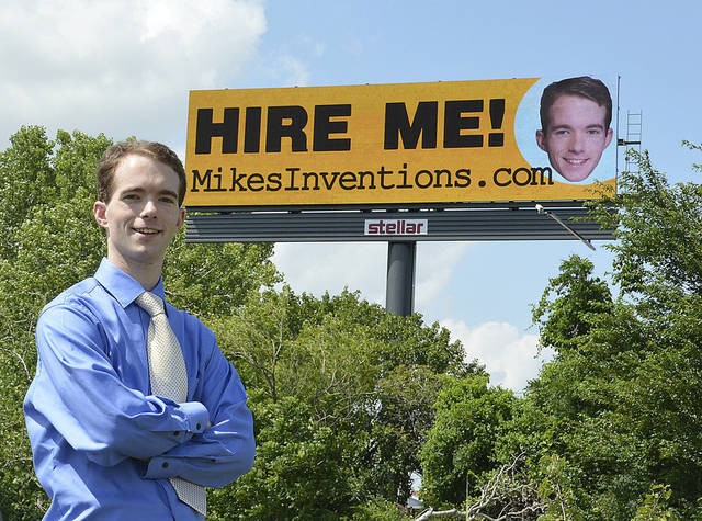 Facing a job market that remains bleak for recent graduates, Mike Thompson took out ad space on a billboard on the Broadway Extension near NW 50 St.  PHOTO PROVIDED