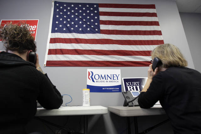 In this Nov. 1, 2012 photo, Republican volunteers work a phone bank in a get-out-the-vote ground game for the Republican ticket in Burnsville, Minn., as election day approaches next week. After months of being taken for granted as a Democratic lock, Minnesota is getting a fresh burst of attention in the presidential race. (AP Photo/Jim Mone)