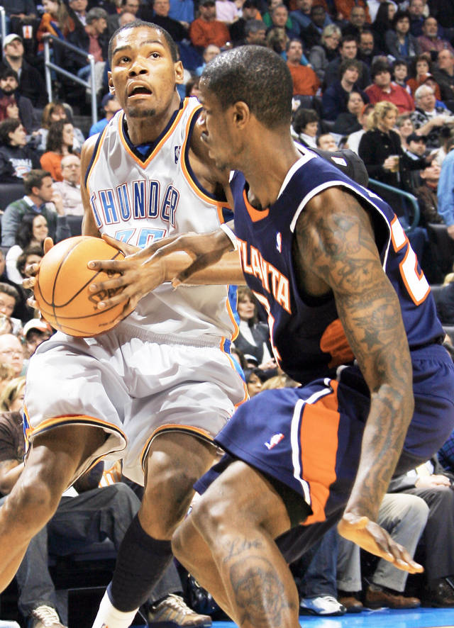 Kevin Durant, left, and the Thunder will put their five-game winning streak on the line tonight at Portland. PHOTO BY NATE BILLINGS, THE OKLAHOMAN