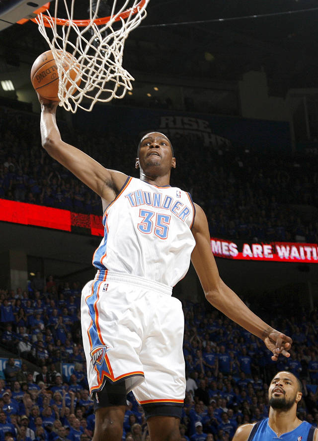 Oklahoma City's Kevin Durant (35) goes up for a dunk during game 4 of the Western Conference Finals in the NBA basketball playoffs between the Dallas Mavericks and the Oklahoma City Thunder at the Oklahoma City Arena in downtown Oklahoma City, Monday, May 23, 2011. Photo by Nate Billings, The Oklahoman