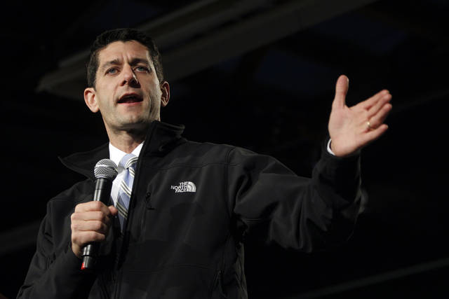Republican vice presidential candidate, Rep. Paul Ryan, R-Wis., gestures as he speaks during a campaign event at the Douglas County Fairgrounds, Sunday, Nov. 4, 2012, in Castle Rock, Colo. (AP Photo/Mary Altaffer)