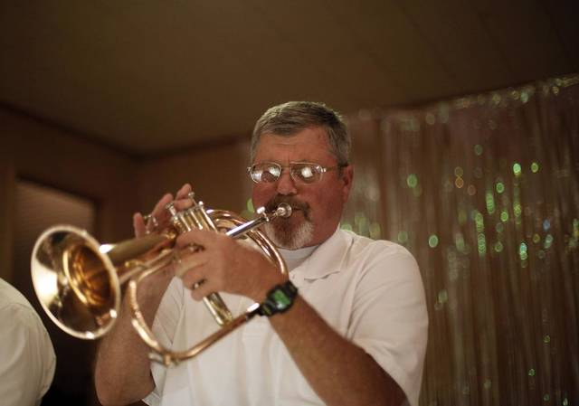 Mike Neilsen plays trumpet with the Milo Schedeck band at Czech Hall in Yukon, Okla., Saturday, Sept. 29, 2012.  Photo by Garett Fisbeck, The Oklahoman