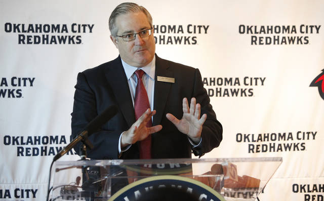 Art Matin, Chief Executive Officer of Mandalay Baseball Properties, announced the acquisition of the Oklahoma City RedHawks during a press conference at the AT&T Bricktown Ballpark Oklahoma City, Oklahoma September 15 , 2010. Photo by Steve Gooch, The Oklahoman