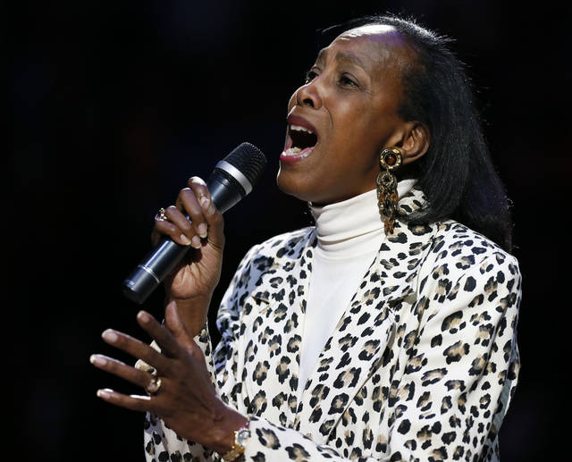 Madeline Manning Mims sings the national anthem before an NBA basketball game between the Oklahoma City Thunder and the Dallas Mavericks at Chesapeake Energy Arena in Oklahoma City, Monday, Feb. 4, 2013. Photo by Nate Billings, The Oklahoman