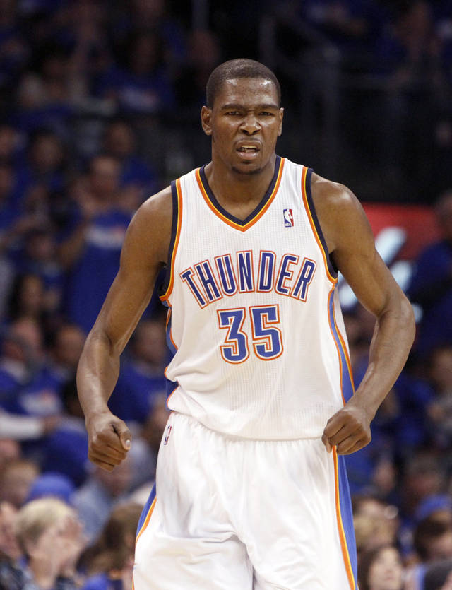 Oklahoma City&#039;s Kevin Durant (35) celebrates a Thunder score during the first round NBA basketball playoff game between the Oklahoma City Thunder and the Denver Nuggets on Wednesday, April 20, 2011, at the Oklahoma City Arena. Photo by Sarah Phipps, The Oklahoman