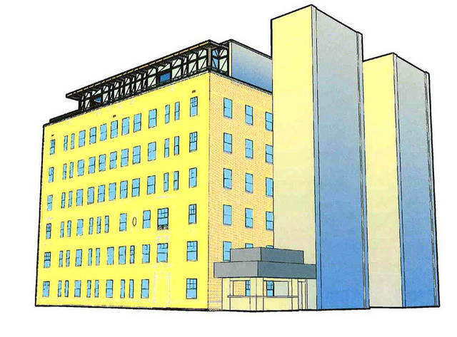 The planned additions of a rooftop bar and patio, stairway and elevator towers, and a new east entrance to the Osler Building, are shown in this rendering of its conversion into a boutique hotel. Provided