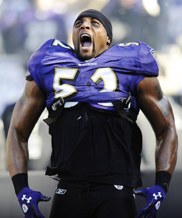 ADVANCE FOR WEEKEND EDITIONS, DEC. 15-16 - FILE - In this Jan. 15, 2012, file photo, Baltimore Ravens inside linebacker Ray Lewis reacts to his introduction before an NFL divisional playoff football game against Houston Texans in Baltimore. (AP Photo/Nick Wass, File)