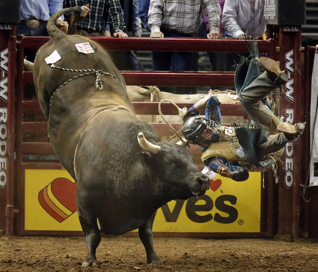 Jake Anderson of Shortsville, New York is thrown from of bull during the bull riding event at the International Finals Rodeo at the State Fair Arena in Oklahoma City,  Saturday,Jan. 19, 2013. Photo by Sarah Phipps, The Oklahoman