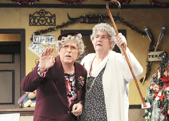 """Jonathan Beck Reed and Donald Jordan star in the Oklahoma City Repertory Theatre production of """"A Tuna Christmas."""" This outlandish comedy focuses on the zany residents of the third-smallest town in Texas. The sequel to Jaston Williams, Joe Sears and Ed Howard's """"Greater Tuna,"""" """"A Tuna Christmas"""" continues through Dec. 12 in Civic Center Music Hall's CitySpace Theatre, 201 N Walker. Curtain times are at 8 p.m. Fridays, 4 and 8 p.m. Saturdays and 2 p.m. Sundays. For more information, call 297-2264 or go to www.cityrep.com.  Photo by Wendy Mutz"""