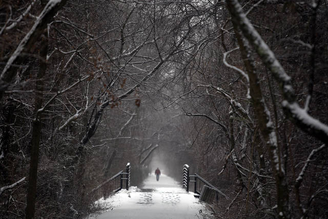 Rayburn Vandergrift walks along the snowy and misty Huckleberry Trail after a winter storm deposited snow in Blacksburg Va., Friday, Feb. 8, 2013. (AP Photo/The Roanoke Times, Matt Gentry) ORG XMIT: VAROA201