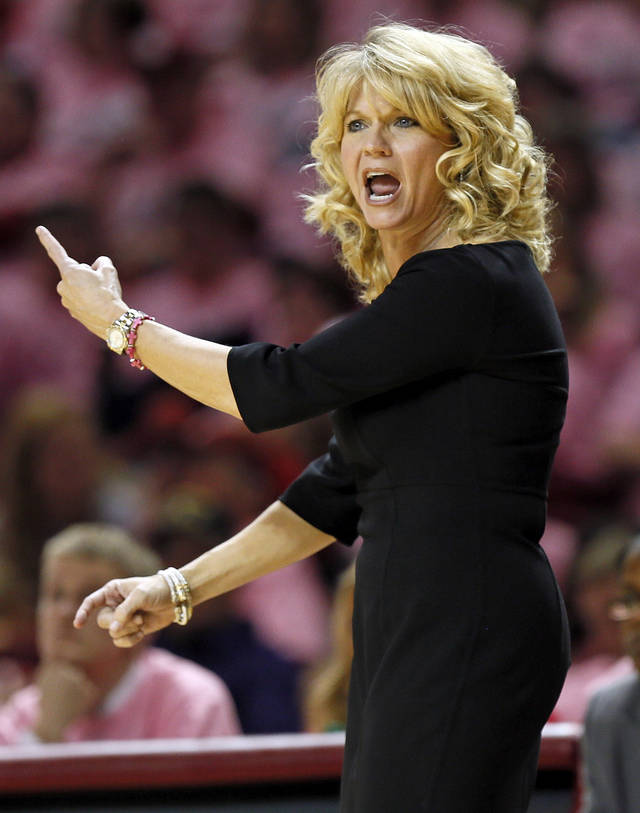 OU head coach Sherri Coale yells at an official during an NCAA women's basketball game between the University of Oklahoma (OU) and Iowa State at the Lloyd Noble Center in Norman, Okla., Thursday, Feb. 14, 2013. Iowa State won, 72-68. Photo by Nate Billings, The Oklahoman