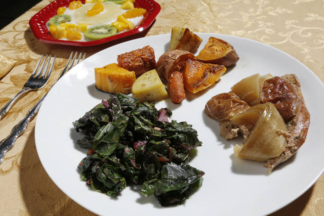 Roasted potatoes, fruit salad, turkey and chard are healthy Thanksgiving options. Photo by Doug Hoke, The Oklahoman <strong>DOUG HOKE - THE OKLAHOMAN</strong>