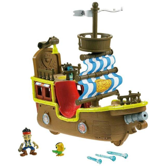 Jake&#039;s Musical Pirate Ship Bucky from Disney&#039;s Jake and The Neverland Pirates includes a spring-loaded canon that fires water-ball projectiles and the ship is packed with 25 action phrases and songs. The set comes with Jake and Skully figures and three water-ball projectiles. $59.50 at Disneystore.com.