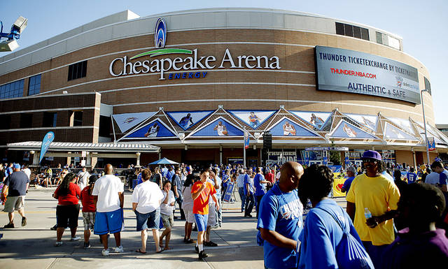 Fans gather in Thunder Alley before the game Monday night.
