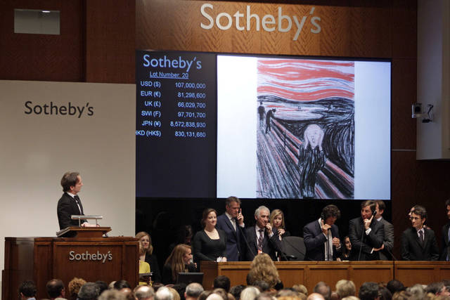 "Edvard Munch's ""The Scream"" is auctioned at Sotheby's Wednesday, May 2, 2012, in New York. The image is one of four versions created by the Norwegian expressionist painter. Three are in Norwegian museums. The one at the Sotheby's auction is the only one left in private hands and is being sold by Norwegian businessman Petter Olsen, whose father was a friend and patron of the artist. The hammer price was $107 Million with the buyers premium is $119,922, 500. (AP Photo/Frank Franklin II)"