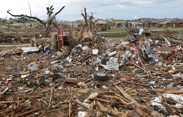 A neighborhood park is filled with debris  on Tuesday, May 21, 2013 in Moore, Okla. that was left behind by Monday's tornado in the area near 4th and Bryant. Photo by Chris Landsberger, The Oklahoman